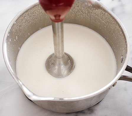 Blending dry ingredients with milk