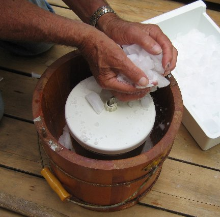 Filling an ice and salt machine