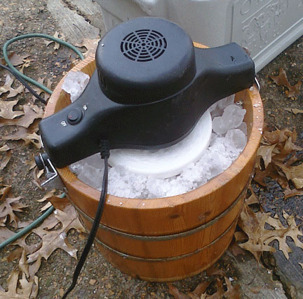 The motor churning an ice and salt machine