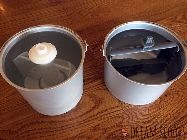 Cuisinart ICE-100 vs Whynter ICM-15LS bowls full of water
