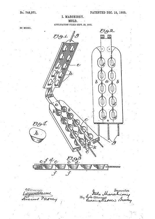 Italo Marchiony's ice cream cone mold patent