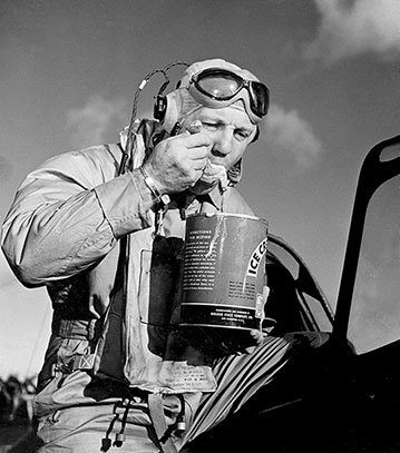 US WW2 pilot eating ice cream